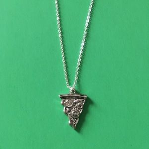 Silver Slice of Pizza Charm Necklace
